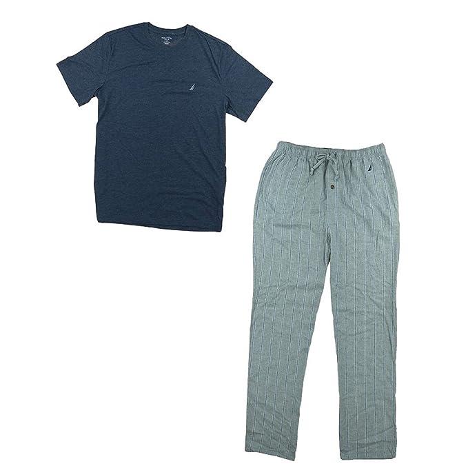 Nautica Hombre Juego de Pijama con Camiseta y pantalón de Cuadros - -