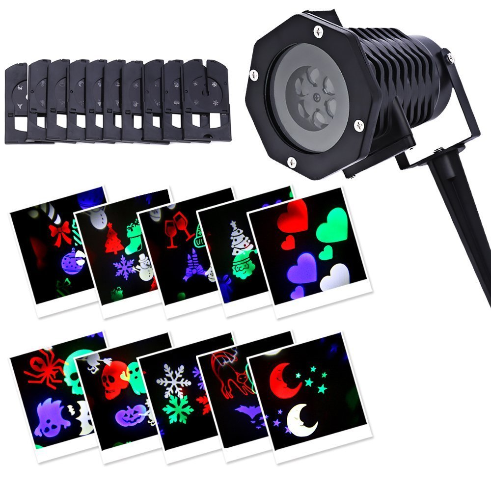 LightMe Outdoor Snowflake Spotlights, Waterproof LED Projection Lamp Auto Moving Landscape Light with 10PCS Switchable Pattern Cards for Christmas, Landscape, Party, Home Decor, etc. (Colorful Light) by LightMe (Image #1)