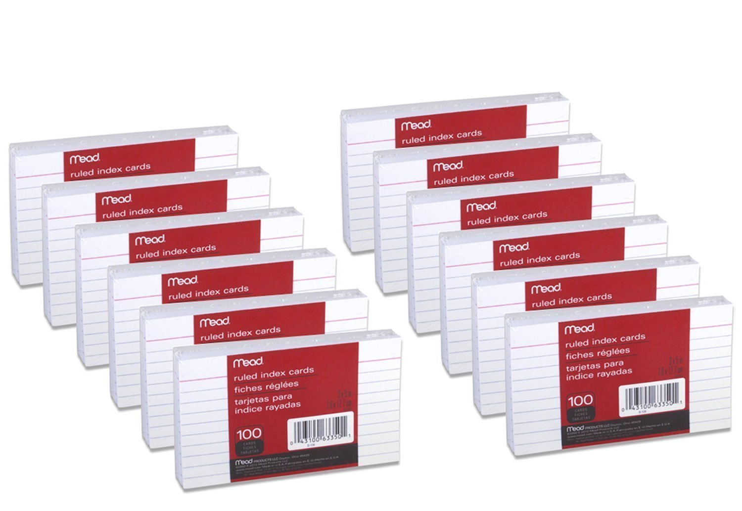 24 Pack of Mead 3 x 5-Inch Index Cards, Ruled, 100 Count, White (63350) = to 2,400 cards