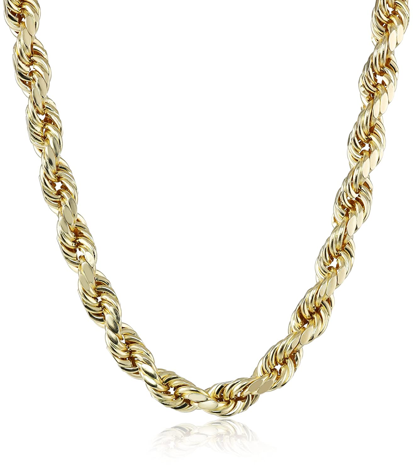 Men s 14k Yellow Gold 8mm Hollow Diamond Cut Rope Chain Necklace