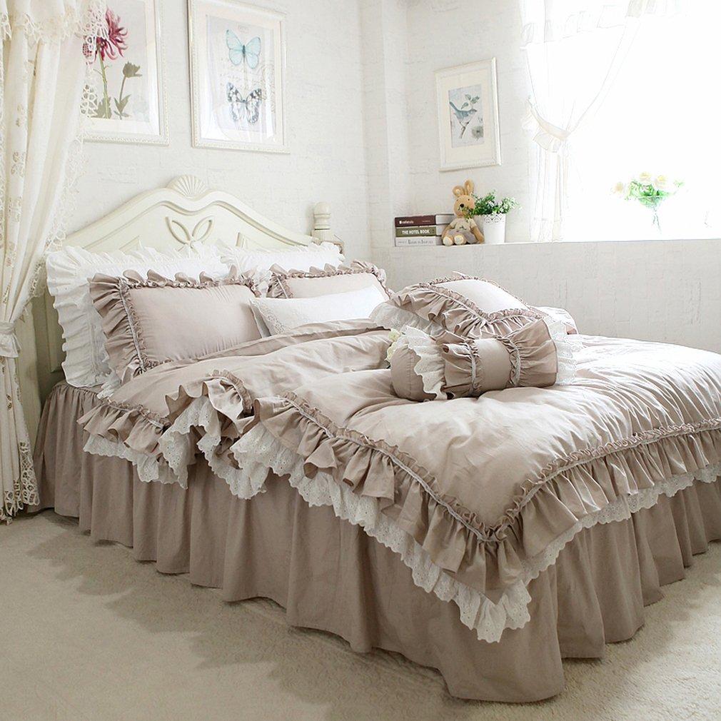 ホワイトレースとフリル模様 コットン寝具カバー 掛け布団カバーと枕カバーとベッドスカート シングル B076ZVF9M8ラクダ色 シングル