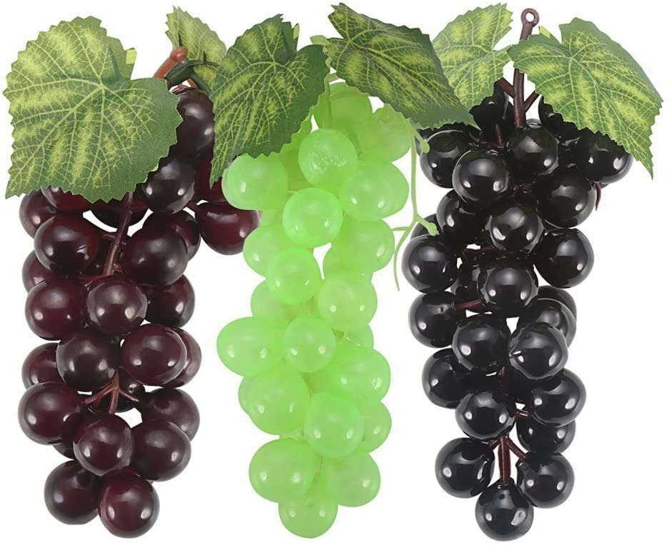 Amazon Com Senreal Artificial Grapes 6 Bunches Fake Rubber Lifelike Clusters Fruit For Home Kitchen Party Wedding Decoration Photography Prop