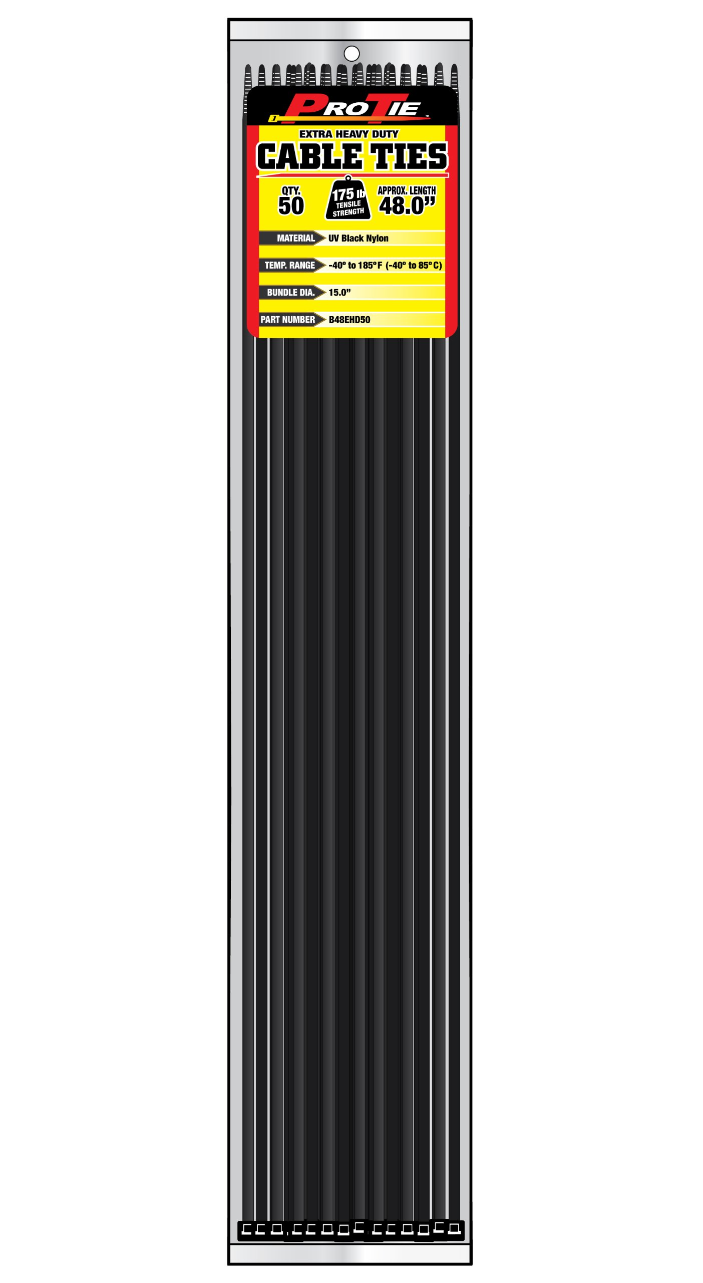 Pro Tie B48EHD50 48-Inch Extra Heavy Duty Standard Cable Tie, UV Black Nylon, 50-Pack