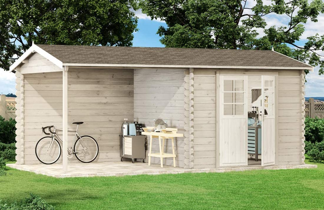 Alpholz MAX-44 ISO - Caseta de jardín con tejado de madera y suelo: Amazon.es: Jardín