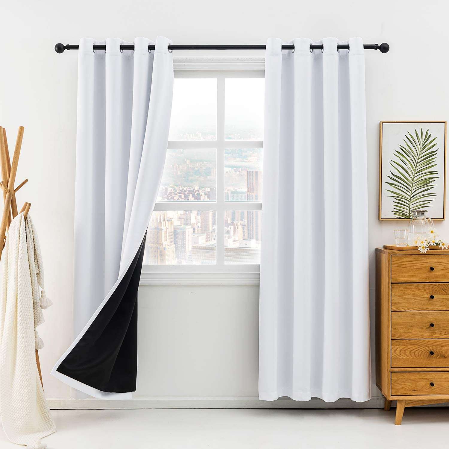 Anjee Blackout Curtains for Bedroom 100% Light Blocking Linen Curtain Room Darkening Burlap Window Curtain Noise Reducing Thermal Insulated Drapes Panels Home Decor Gifts,Greyish White 52x63 Inches