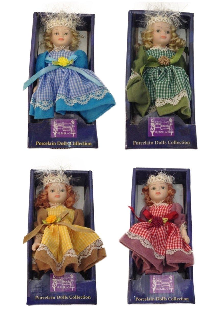 T410bambola in porcellana con bellissimo vestito bambola in porcellana circa 16cm V2 NN