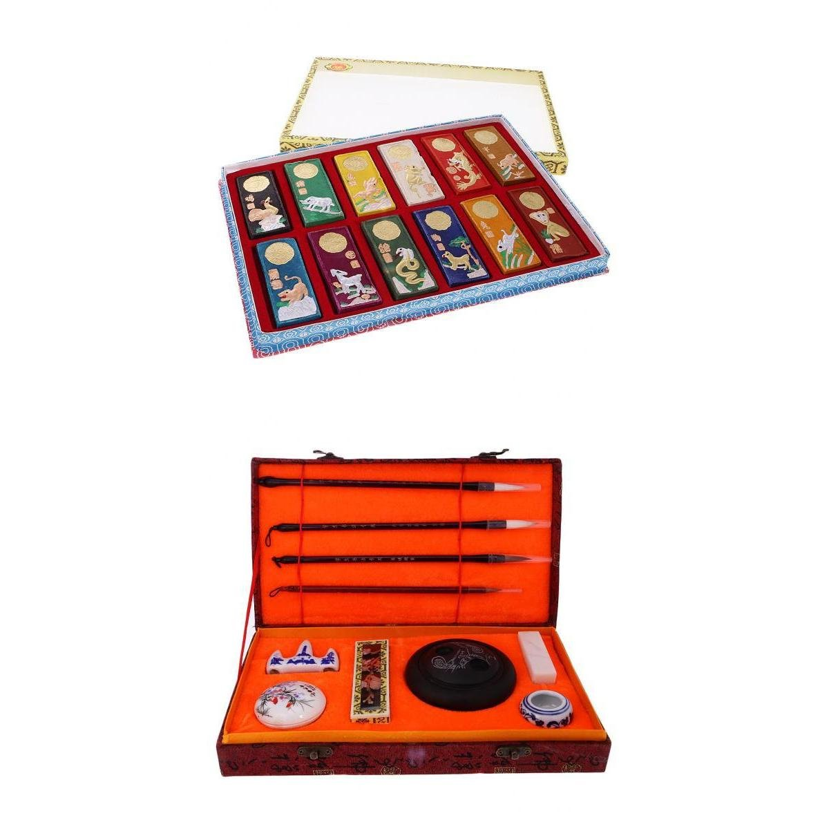 MagiDeal Chinese Calligraphy Set Brushes Ink Stone Set Chinese Zodiac Ink Sticks non-brand