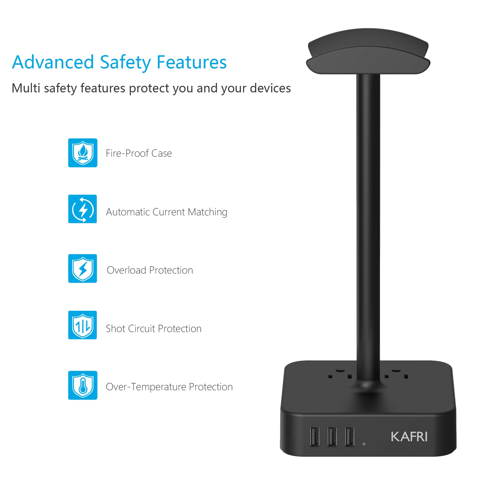 KAFRI Headphone Stand with USB Charger Desk Gaming Headset Holder Hanger Rack with 3 USB Charging Port and 2 AC Outlet - Suitable for Gamer Desktop Table Wireless Earphone Accessories Boyfriend Gift by KAFRI (Image #4)