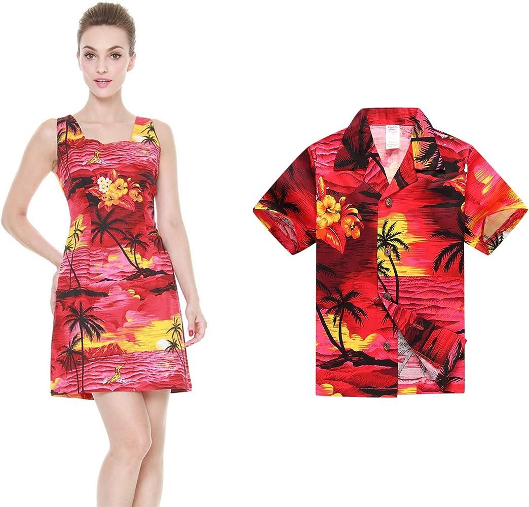 Hawaii Hangover Conjunto de Luau Hawaiano de Madre e Hijo Vestido de Mujer Camisa Chico Puesta de Sol roja 2XL-10: Amazon.es: Ropa y accesorios