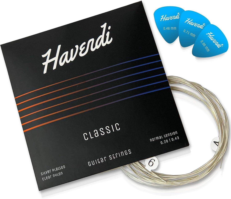 HAVENDI® Cuerdas de guitarra de primera calidad para la guitarra clásica, española & flamenca - calidad de sonido brillante hecha de nylon duradero| (juego de 6 cuerdas) incl. 3 púas