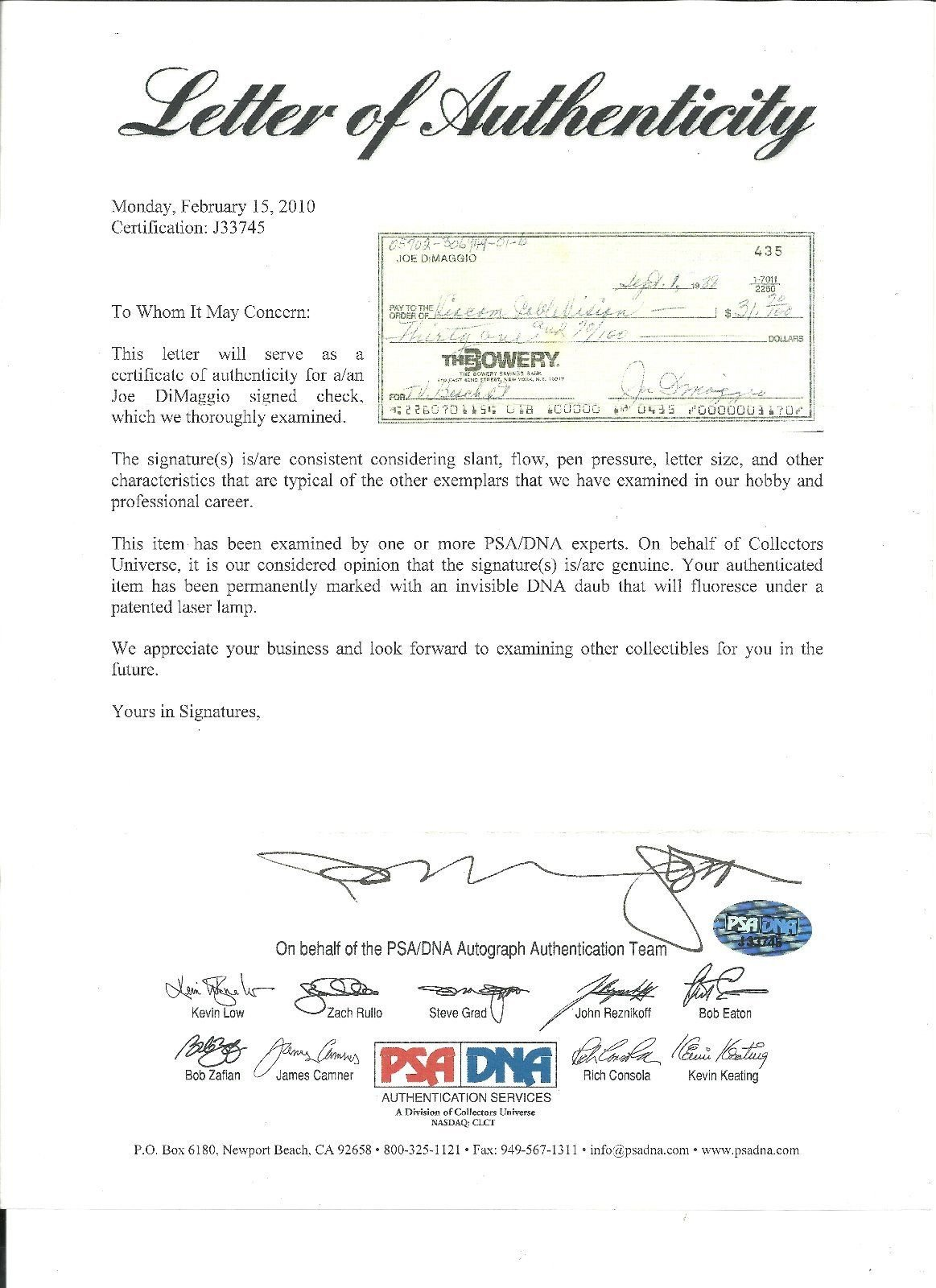 Psa/Dna Joe Dimaggio Autographed Signed Hand Written Check Authentic #J33745