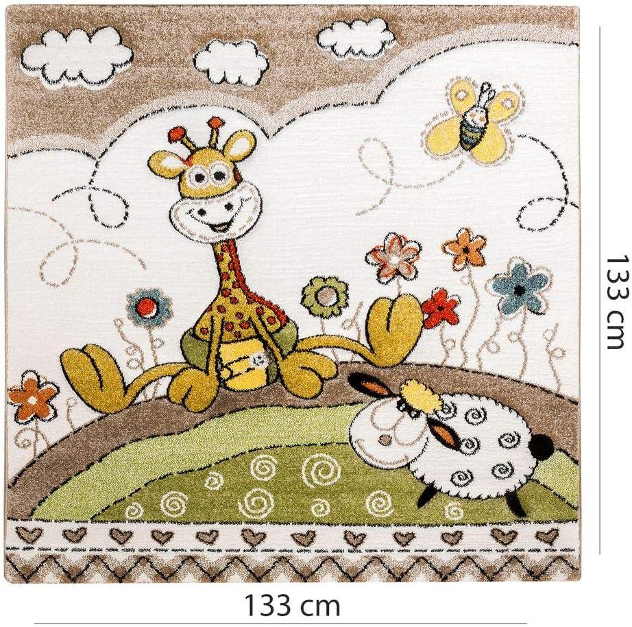 Dimension:80x150 cm Paco Home Tapis pour Enfants Chambre D/'Enfant Contours D/écoup/és B/éb/é Girafe Beige Cr/ème Couleurs Pastel