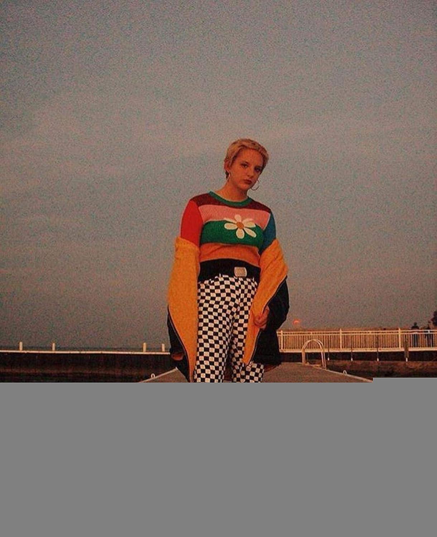 RBLNFJSu Women Retro Multicolored Rainbow Stripe Pullover Sweater