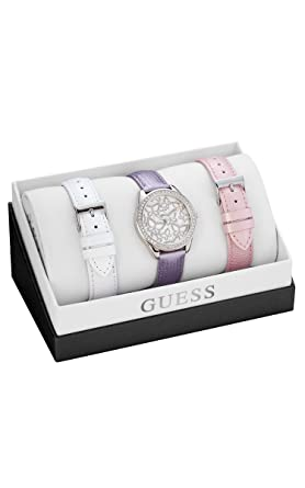 GUESS Womens U0308L1 Wardobe Set with 3 Interchangeable Genuine Leather Straps in White, Pink &