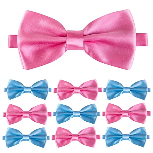 PROLOSO 20pcs Baby Gender Reveal Bowties for Baby Shower - Pink and Blue Boy or Girl Party Best Choice