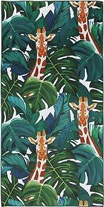 Giraffe Beach Towel Microfiber Camping Towel 63''x31'' Oversized Quick Dry Travel Towel & Sport Lightweight Towel Blanket Suitable for Adults Women Men