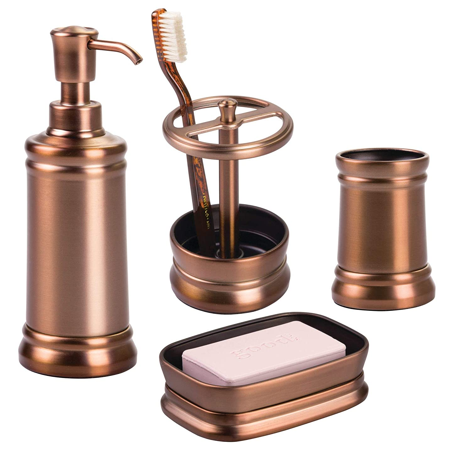 Venetian Bronze Bathroom Accessories Amazon.com: mDesign Bath Accessory Set, Soap Dispenser Pump, Toothbrush  Holder, Tumbler, Soap Dish- 4 Pieces, Venetian Bronze: Home u0026 Kitchen
