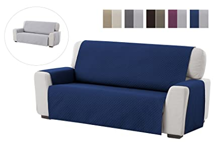 textil-home Funda Cubre Sofá Adele, 3 Plazas, Protector para Sofás Acolchado Reversible. Color Azul