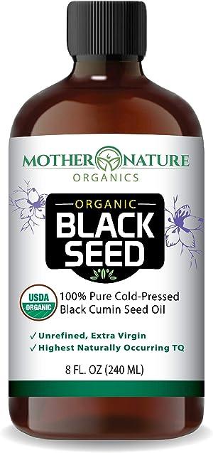 100% USDA Organic Certified Premium Black Cumin Seed Oil   Glass Bottle   Darkest & Highest TQ Content 1.08%   Nigella Sativa   Undiluted   Cold Pressed   Certified Vegan & Non-GMO (8oz)