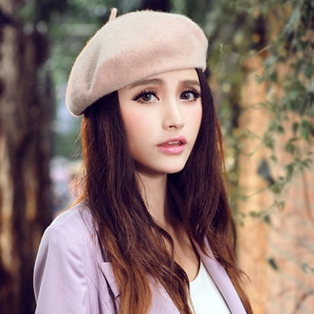 d74970bb7dc Gemini  mall Winter Autumn Plain Beret Hat Wool French Beret Women Girls  Fashion Hats