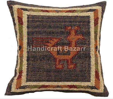 5 PC Set Indian Hippie Kilim Pillow Throw Outdoor Pillow Handwoven Jute Vintage