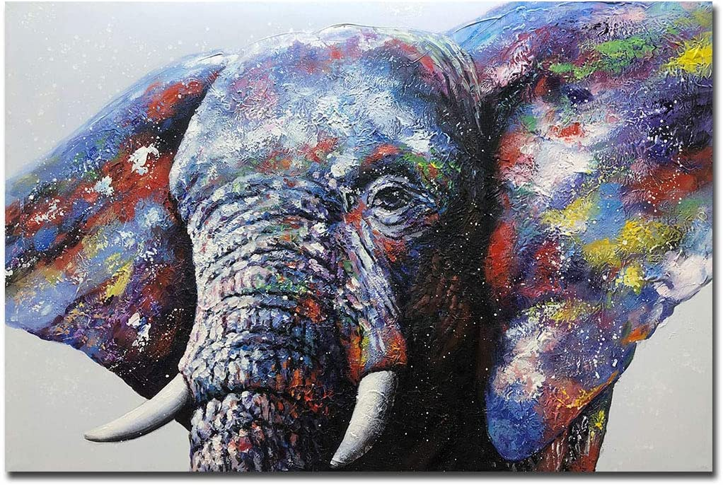 V-inspire Art, 32X48 Inch Contemporary Hand-Painted Oil Painting Color Elephant Home Decorative Wall Art Canvas Palette Knife Painting in Wooden Frame