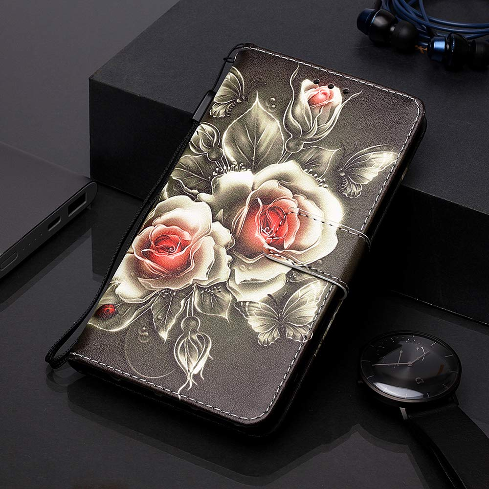 HUDDU H/ülle Kompatibel mit Samsung Galaxy Note 10 Plus Ledertasche Leder PU Wallet Flip Case Schutz Kartenfach Standfunktion Magnet Handyh/ülle Schutzh/ülle Ultra D/ünn Slim Inner Silikon Gold Einhorn