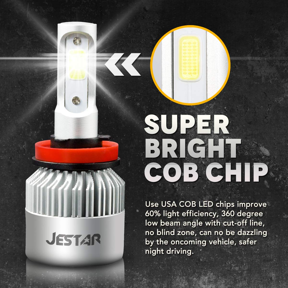 9005 HB3 LED Headlight Bulbs High Beam 6500K Jestar 38W 8000LM Super Bright Cree Chips 9005 LED Fog DRL Light All-in-One Conversion Kit 2 Years Warranty