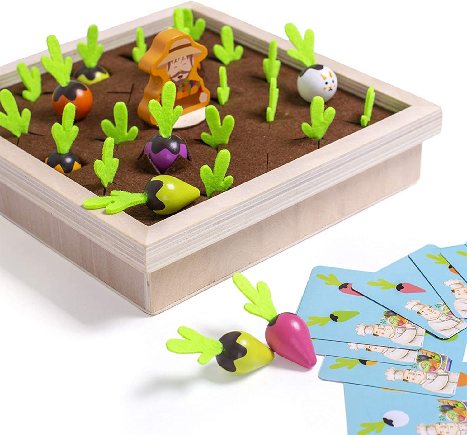 ONEST Developmental Wooden Montessori Toys Preschool Learning Toys Catching pests, Picking Mushrooms and catching Bees Motor Skill Wooden Toys for Toddlers