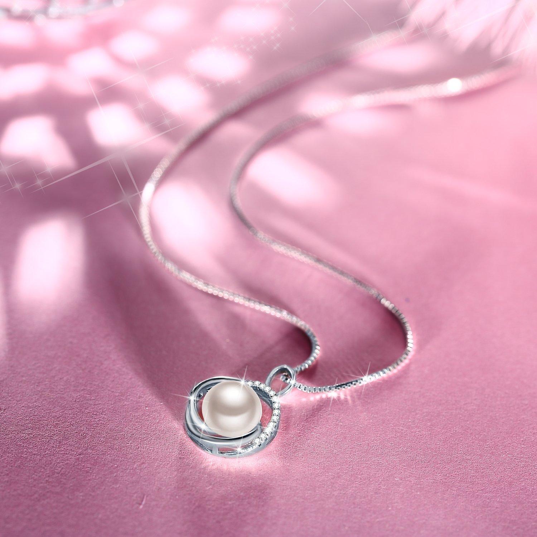 J.Rosée Kette Damen, Halskette Anhänger 925er Silber Zirkonia Süßwasserzuchtperle Venus Venezianerkette Geburtstag Geschenk für Frauen Mädchen Freundin Mutter Tochter
