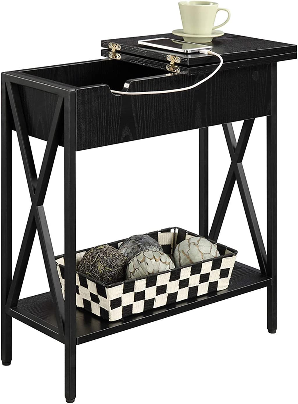 Convenience Concepts Tucson Flip Top End Table with Charging Station, Black
