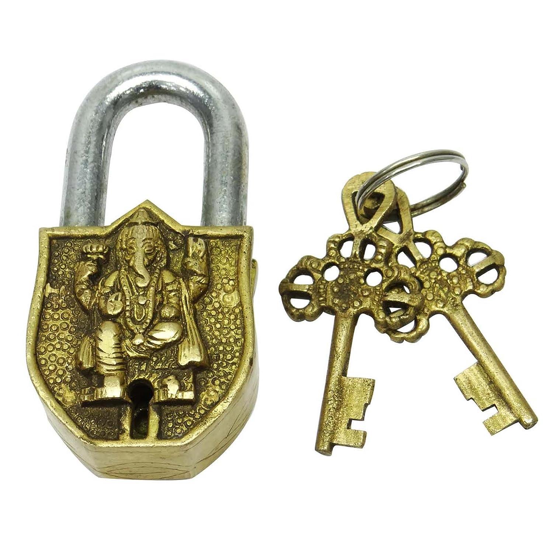 アンティーク真鍮メタルロックキーEngravedガネーシャデザインドアD Cor Figurineインド B0713ZP4FX