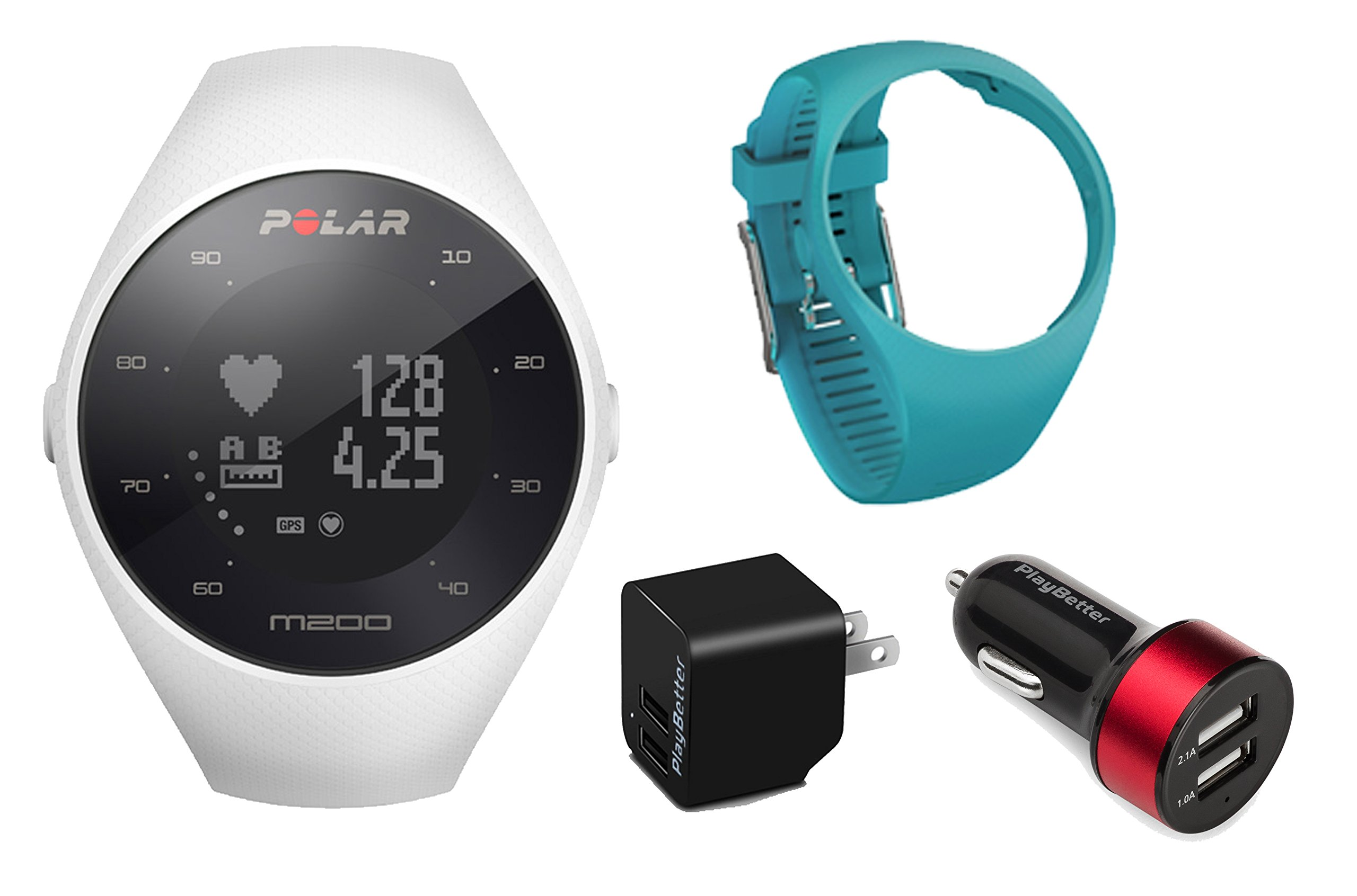 Polar M200 (White) Running GPS Watch Power Bundle | Includes Extra Silicone Wrist Band (Blue) & PlayBetter USB Car/Wall Charging Adapters | Running Watch with Wrist HR