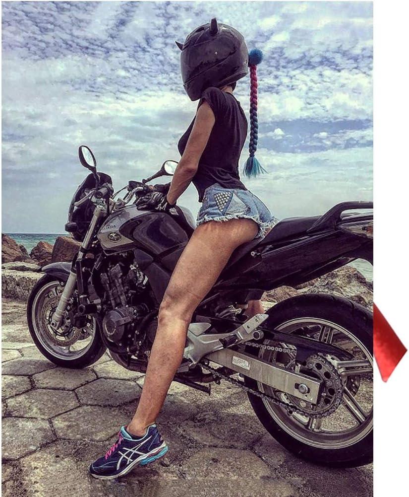 Fahrrad Abnehmbarer Pferdeschwanz bunt Z/öpfe f/ür Motorrad Vakuum-Saugnapf WLXW Helm Dreadlocks Lokomotive Helm f/ür M/änner und Frauen