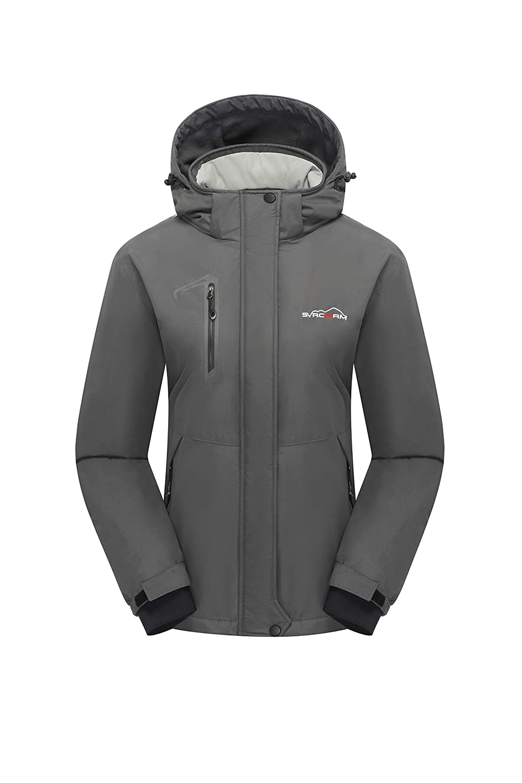 Grey svacuam Women's Mountain Waterproof Ski Jacket Performance Insulated Ski Jacket with Zip Off Hood