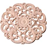 Junlinto Wood Carved Corner Onlay Applique Frame Decoration Furniture Unpainted Decal Wooden Color