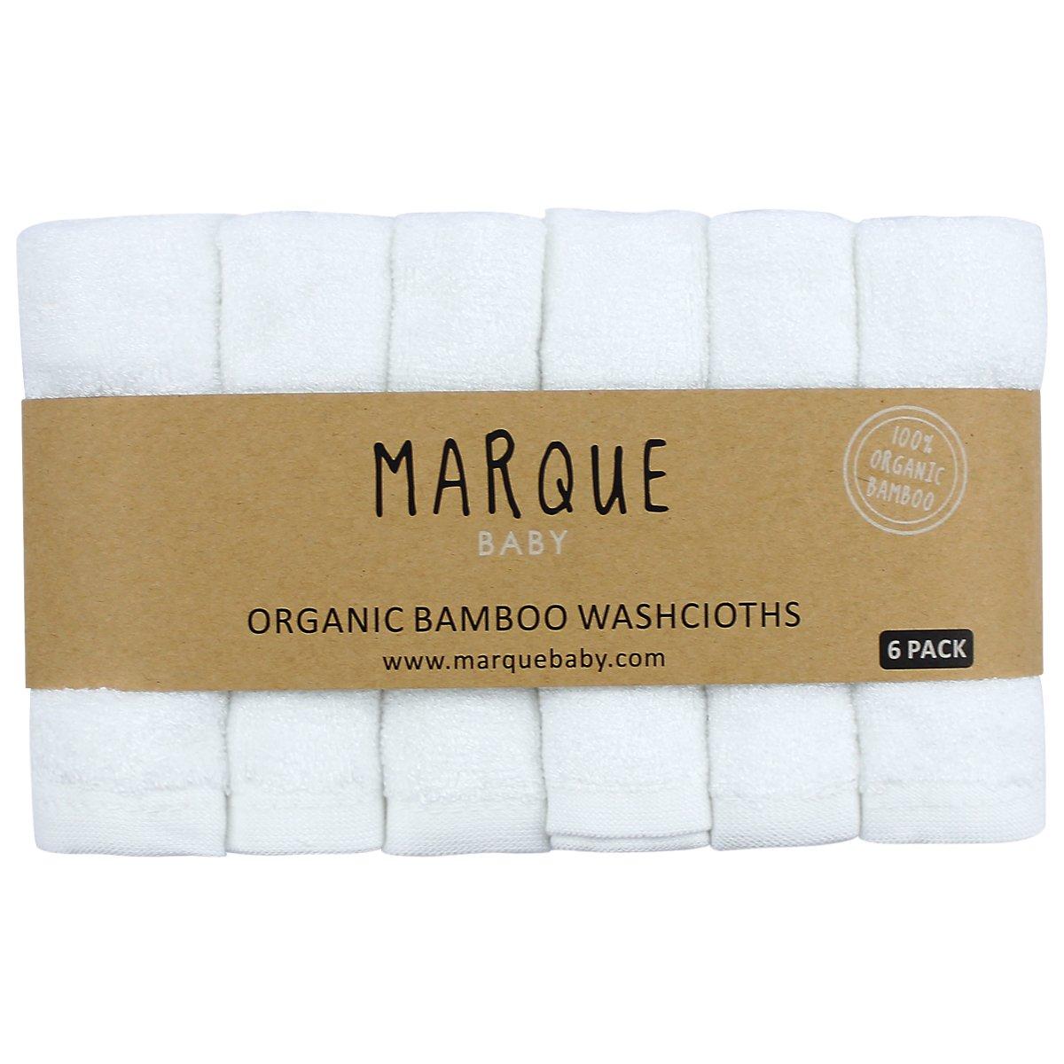 100% Organic Bamboo Cotton Baby Washcloths - 6pcs NO DYES Super Soft & Absorbent Bath Towels 10