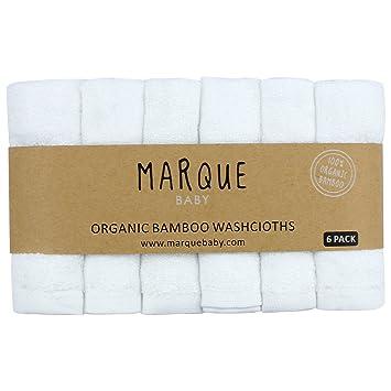 Amazon.com : 6pcs 100% Bamboo Baby Washcloths - NO DYES Super Soft ...