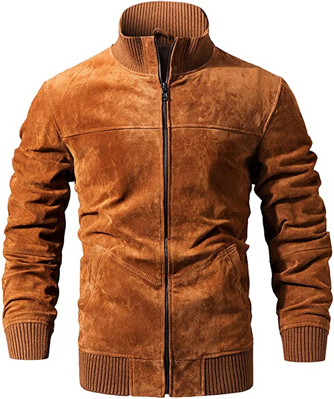 メンズリアルレザージャケット、豚のスリムフィット本物のレザーコートリブカフスタンディングカラー