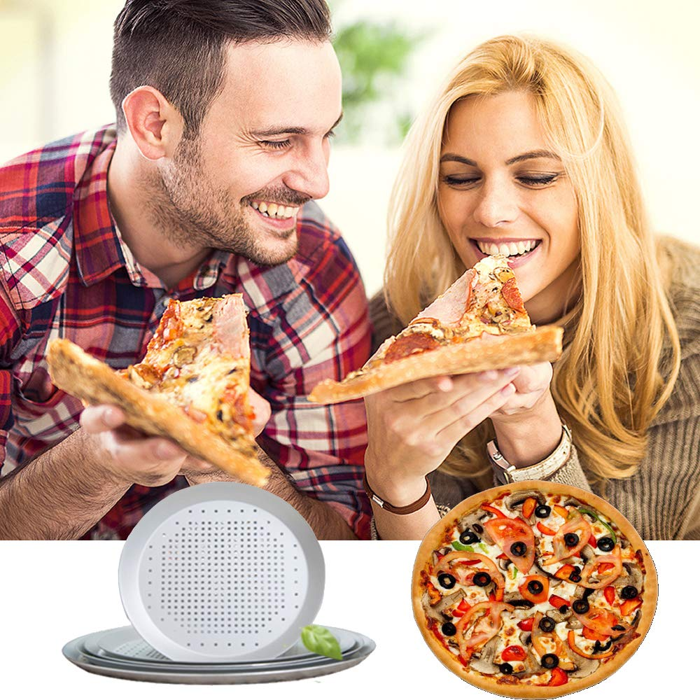 9 Inch - Holes Round Pizza Oven Tray Tools Kitchen Cooking Pan Kitchen Accessories Non-stick Vented Pizza Baking Tray With Holes Perforated Pizza Pan 9 Inch