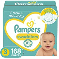 Baby Diapers Size 3, 168 Count - Pampers Swaddlers, ONE MONTH SUPPLY (Packaging and Prints on Diapers May Vary)