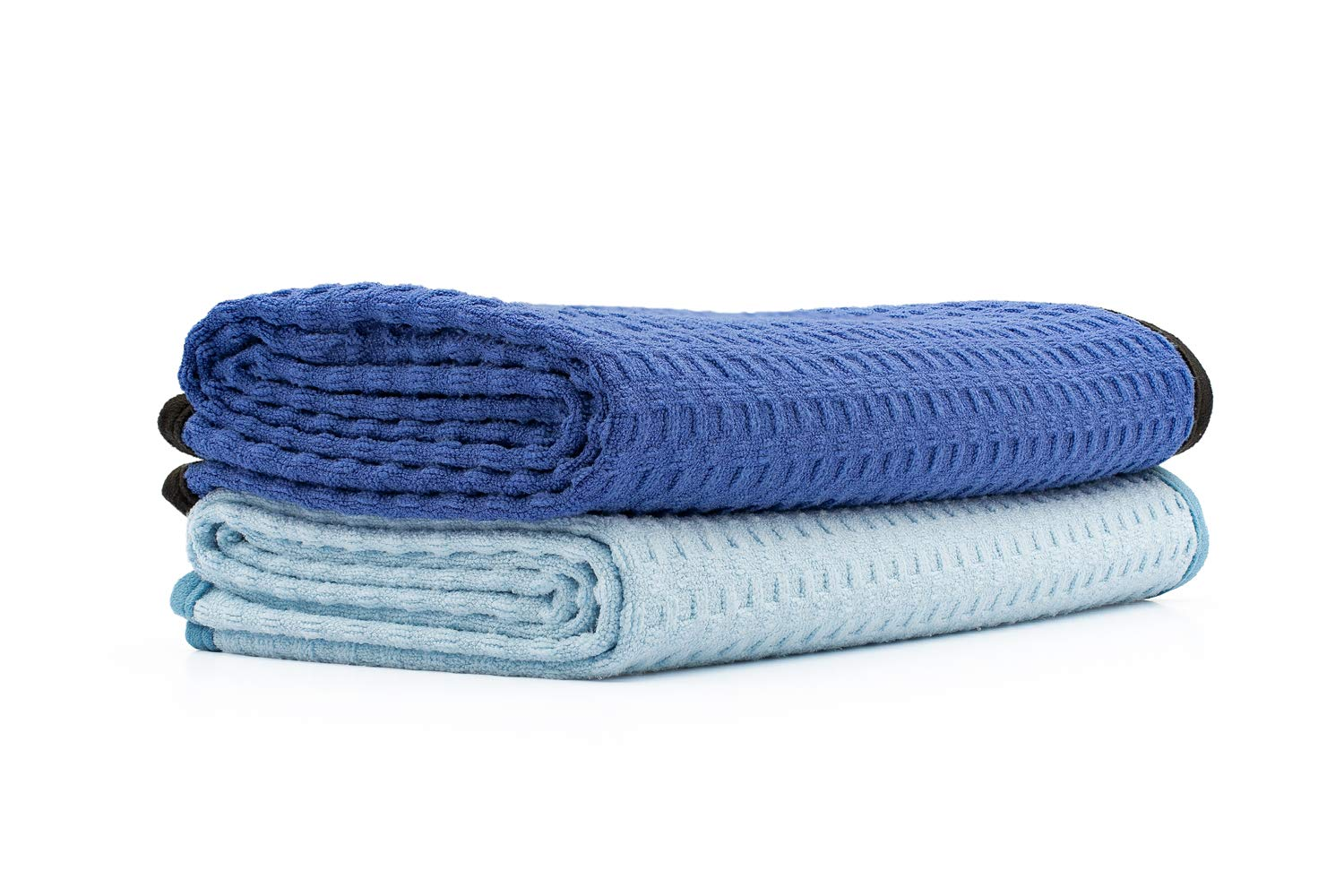 The Rag Company - Dry Me A River - Professional Korean 70/30 Blend Microfiber Waffle-Weave Drying & Detailing Towels, Soft Suede Edges, 390GSM, 20in x 40in, Light Blue & Royal Blue (2-Pack)