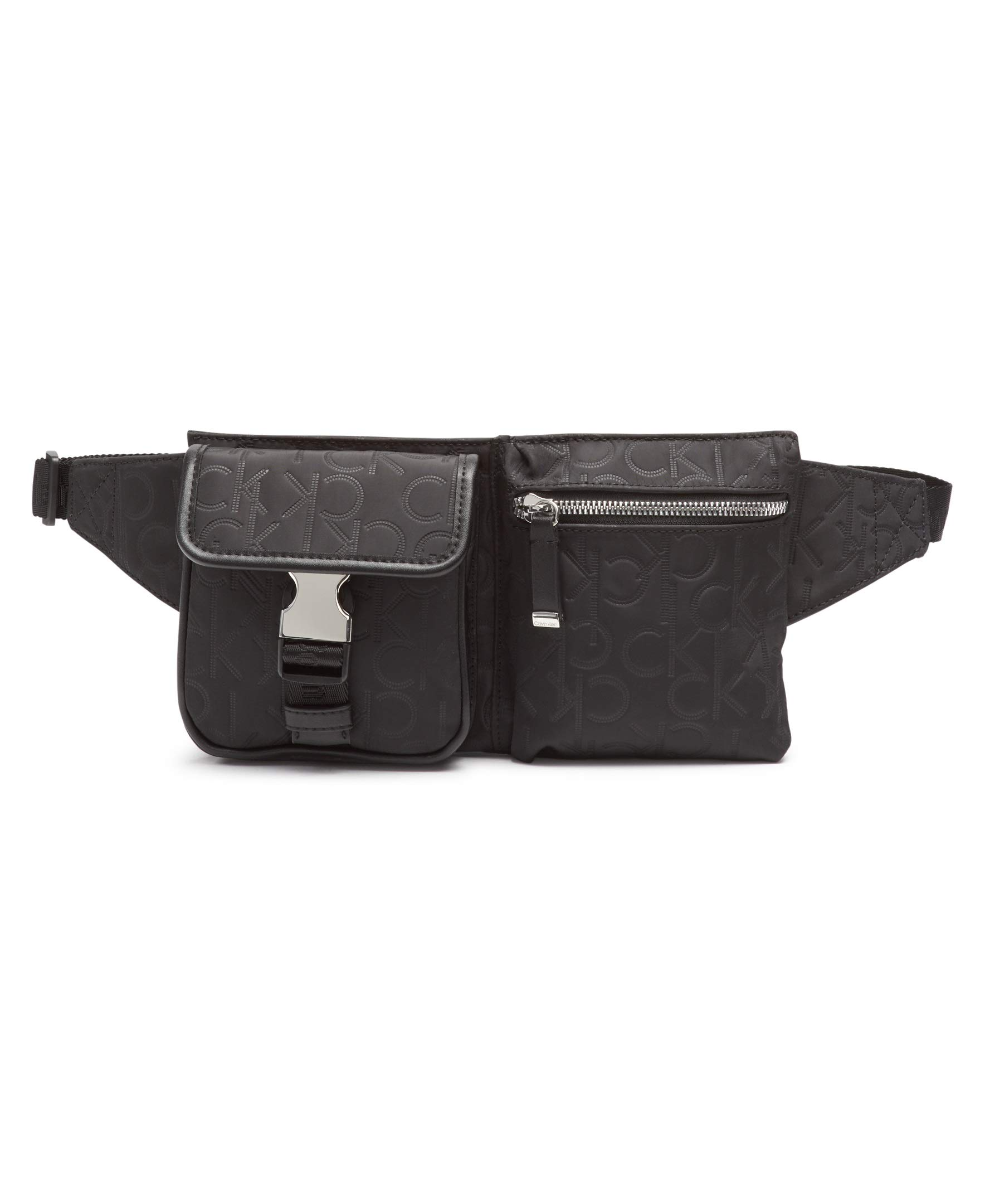 Calvin Klein Tandy Nylon Belt Bag, Black/Silver