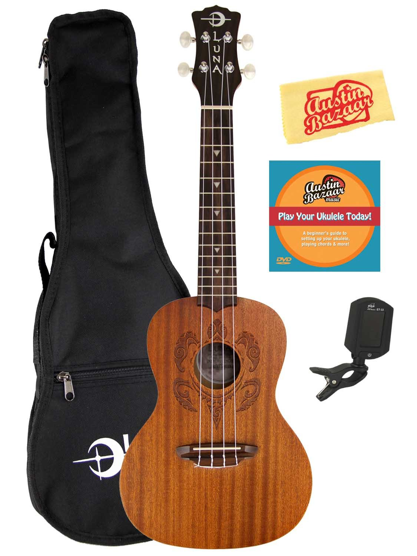 Luna Honu Mahogany Concert Ukulele Bundle with Gig Bag, Tuner, Austin Bazaar Instructional DVD, and Polishing Cloth by Luna Guitars (Image #1)