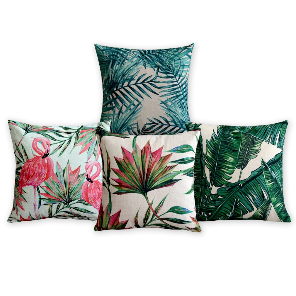 American Pillow Flamingoes and Palm Leaf Modern Art Cotton Linen Pillowcase Comfortable Cushions Decorative Pillows Home Decor Sofa Throw Pillow Case Set of 4 Cushion Cover Lvyang