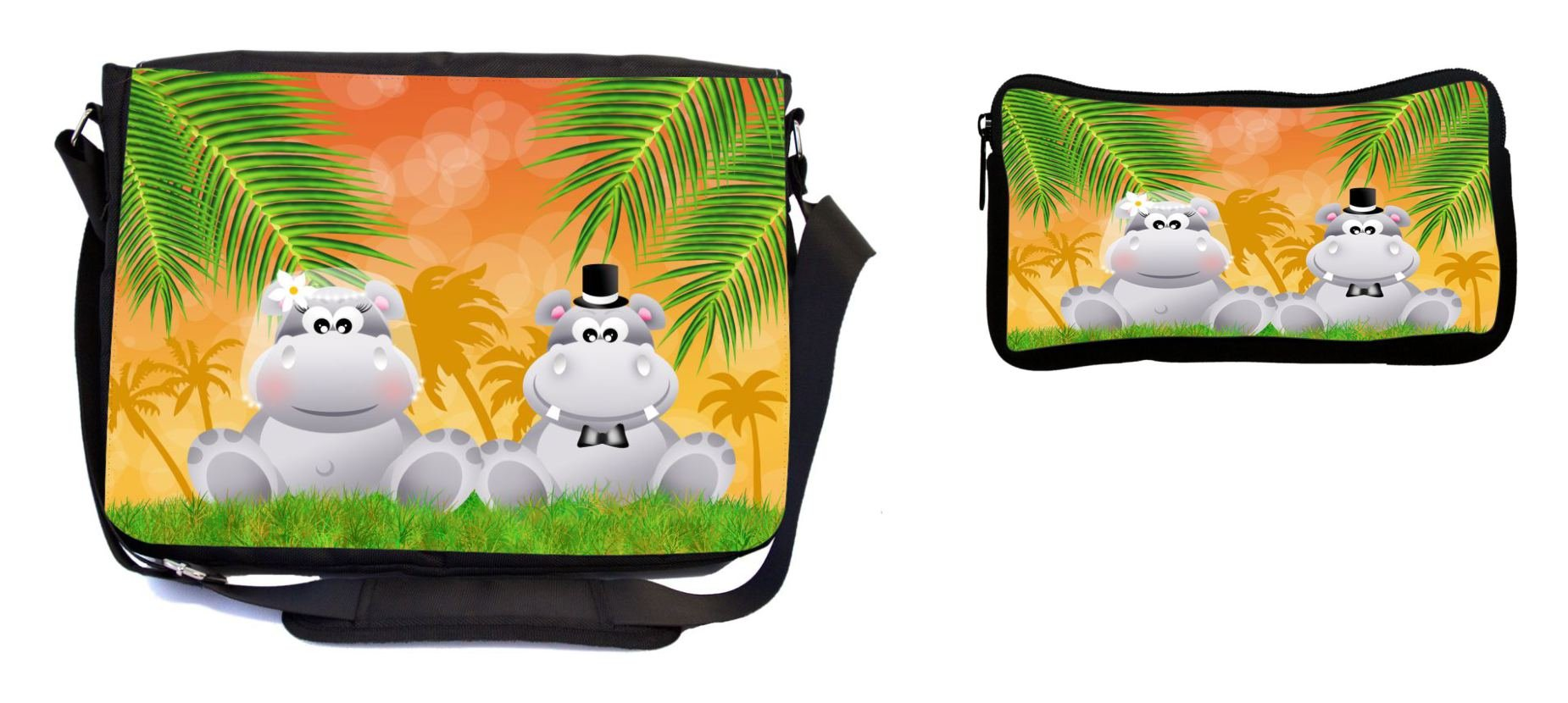 Rikki Knight Hippos in Love Wedding Illustration Design Multifunction Messenger Bag - School Bag - Laptop Bag - with Padded Insert for School or Work - Includes Pencil Case