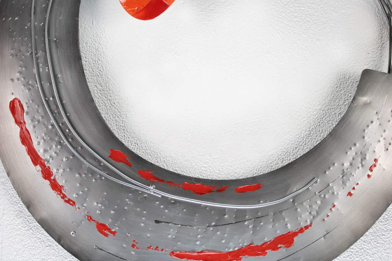 Oeuvre Moderne fabriqu/ée /à la Main Abstrait Vase Fleurs Gris Rouge KunstLoft Extraordinaire Sculpture Murale en m/étal de Coquelicots Fleuris 62x70x7cm D/écoration XXL dart Mural