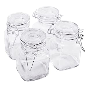 """3 1/4"""" Square Glass 3oz Jar with Hinge Glass Lid for Home Kitchen, Arts & Crafts Projects, Decoration, Snack Foods and Sauces (4 Pack)"""