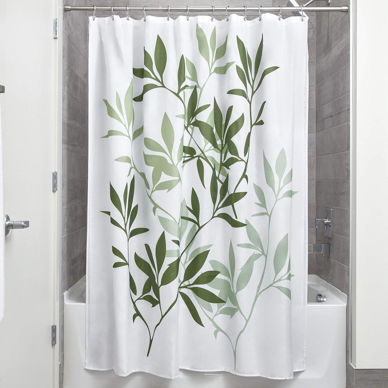 InterDesign Leaves Cortina de Ducha   Cortina de baño de diseño de tamaño estándar, 183,0 cm x 183,0 cm   Elegantes Cortinas Estampadas con Dibujo de Hojas   Poliéster Verde