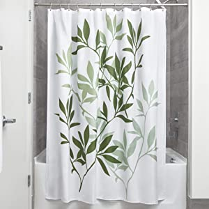 "InterDesign 35630 Leaves Fabric Shower Curtain - Standard, 72"" x 72"", Green/White"